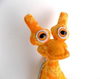 Alien Keychain, Toys for Boys, Cute Keychain, Yellow Keychain, Monster Keychain, Zipper Pull by Adopt an Alien named Cyan