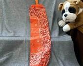 Plastic Bag Holder Sock, Orange Paisley Print
