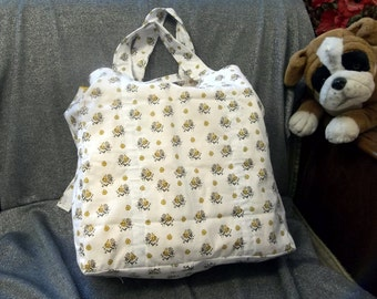 Cotton Shopping Tote Bag, Yellow Bunches of Flowers Print