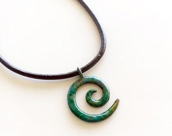 Mini Koru charm in Bronzed Turquoise