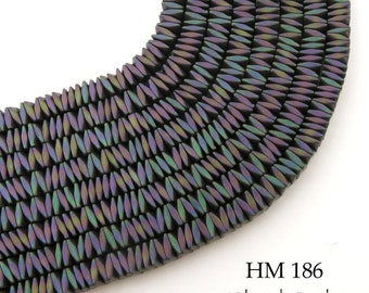 4mm Tiny Rainbow Hematite Small Faceted Square Beads Multi Colored 4mm x 4mm (HM 186) 7 1/2 inches 150 pcs BlueEchoBeads