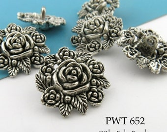 "24mm Rose Flower Pewter Button, 1"" Antiqued Silve, Shank Buttonr (PWT 652) 6 pcs BlueEchoBeads"