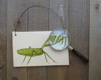 Praying Mantis tile, wall hanging, green and white bug, woodland home decor