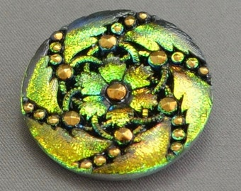 Vintage Style Czech 32mm Glass Button Green Pink Metallic with Gold and black, floral pattern