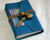 Small Teal Leather Journal with Bells