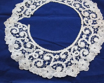 "1900s Antique/Vintage Circular Hand Made Lace Trim 40"" long 5"" wide"