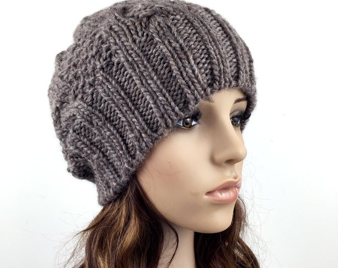 Hand knit hat Wool hat woman Hat Coffee slouchy hat Brown hat
