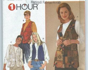 Simplicity 7320 Misses' Set of Lined Vests - Size XS-S-M - Uncut Vintage Pattern