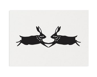 Black Rabbits in Love - A3 Recycled Art Print