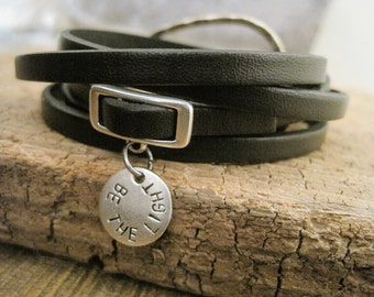 Leather Personalized Charm Wrap Bracelet - Item 2881
