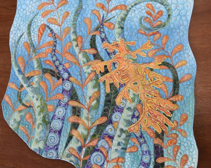 Leafy Seadragon  art wall quilt by Cindy Watkins