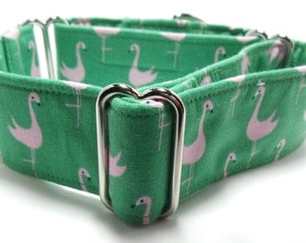 Green with Pink Flamingos Greyhound, Whippet, Galgo, Pit Bull, Dog Sighthound Martingale Collar