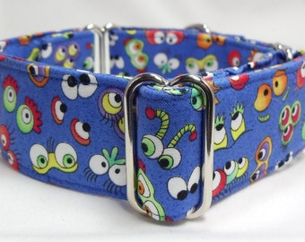 Cute Monster Eyes on Blue Greyhound, Whippet, Galgo, Pit Bull, Dog Sighthound Martingale Collar