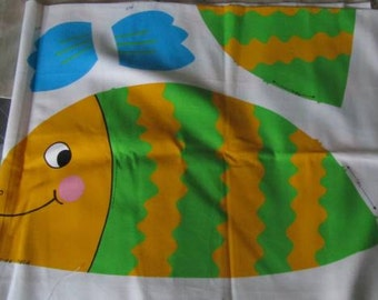 Fish Tales - Printed Linen CXut POut and Sew Fish Duffle Bag