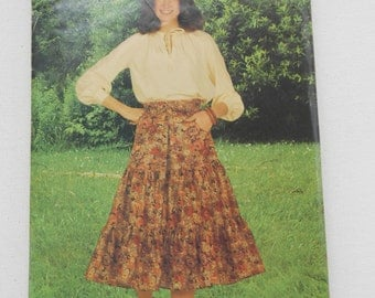 Vintage 70s Tiered Skirt Pattern See & Sew Butterick 6222 Size 16 Waist 30