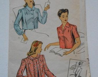 Vintage 40s Bed Jacket Pattern Du Barry 5713 Size Large Bust 38 40