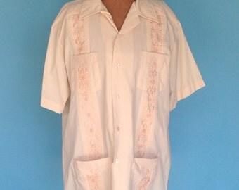 Vintage Mens Shirt Embroidered Guyabera L 16- 16 1/2