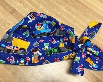 Reversible construction trucks scrub hat fits 4 months to adul