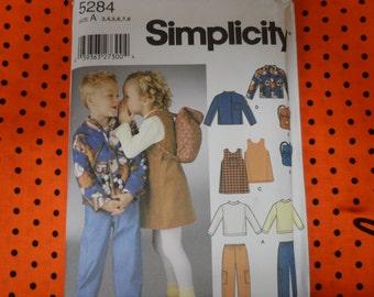 Simplicity 5284 Boy's and Girls Wardrobe Pants, Shirt, Jacket, Jumper, Backpack Sizes 3-8 UNCUT
