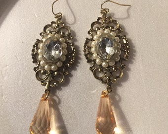 Vintage Gold Toned Dangle Earrings with faux pearls and acrylic Orange rhinestones OOAK Antique