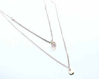 Pink Chalcedony double Chain Pendant Necklace SALE WAS 23.95 now 18.00