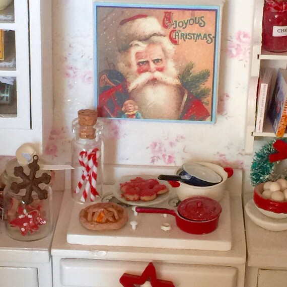 "Christmas Santa picture on 2"" Canvas-1:12 scale dollhouse miniature"