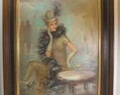 Reserved for Dee-pleae dont buy-Painting The Sophisticate Signed 1940s Woman in Club Bar Feather Scarf Hat Cigarette Holder Mid Century