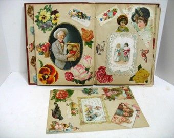 Antique Victorian Scrap Book Lady's Kids Men Flowers Fruit 1890s Ephemera Collection Vintage Cut outs Advertising