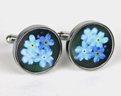 Forget-Me-Not Cufflinks - gift for groomsmen - gift for page boy - gift for flower lover - best man - usher