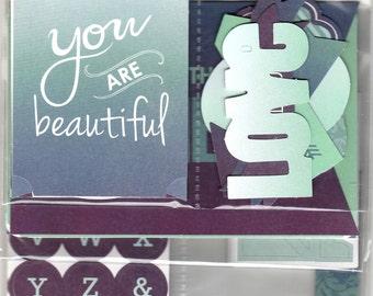 Love Life Scrap Pack Scrapbook Kit, Gratitude Happy Junk Journal Kit,Dream Mini Album Kit, Document Style Layout Kit, 122 Pieces