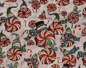Christmas Peppermint And Snow Fabric/Material by the yard