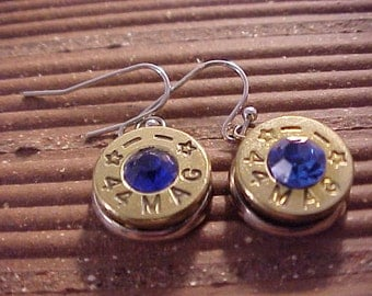 Bullet Earrings 44 Magnum Brass Shell Sapphire Swarovski Crystal - Free Shipping to USA