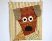 Surprised Puppy Mini Quilt Wall Hanging