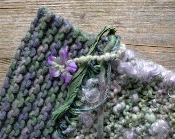 heather mist. handknit bohemian cowl knit chunky neck warmer . handspun wool art yarn sari silk ribbon . lavender purple moss green
