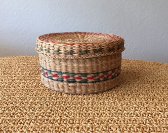 Small Woven Basket with Lid