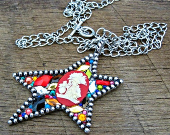 Pirate Skull Swarovski Crystal Star Statement Necklace red antique silver rainbow Gasparilla pirate glam rocker chic sparkle sparkly