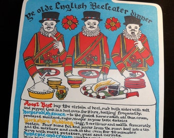 SALE - Vintage 1960s Ye Olde English Beefeater Dinner Cutting Board