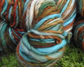 Handspun yarn, handpainted thick and thin worsted wool yarn, handmade yarn worsted bulky-Mrs. Fox