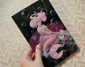 Greeting Card with envelope - Pink and Pearls Mermaid