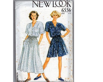 Vintage Dress and Romper Pattern Button Front Casual Elastic Waist  Size 8 10 12 14 16 18 20 New Look Simplicity 6556