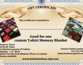 Gift Certificate - Large Memory Blanket unlimited Shirts... custom made to you