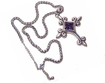 STERLING SILVER & Rhinestone Cross Pendant with Chain by Barse