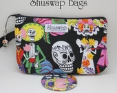 Day of the Dead Sugar Skull Wristlet and Mirror Set