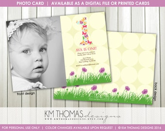 1st Birthday Photo Invitation : Butterfly Photo Invitation - Girl Butterfly Party - Printable Butterfly Invitation - Flowers - BD120