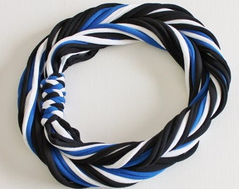 T Shirt Scarf - Infinity Circle Scarves Recycled Cotton - Royal Blue White Black Sapphire Casual Team Sports Necklace