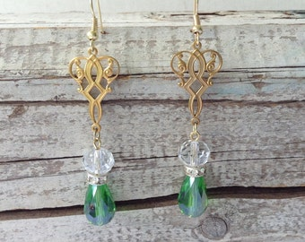 Emerald Green Glass Drop Earrings