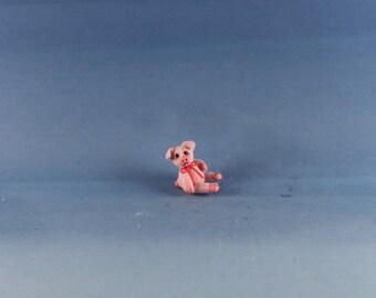 Miniature Handmade furred Pig, Dollhouse Baby Nursery Toy, Ooak, Artist Doll, Cheryl Brown