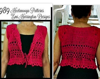 Women's Shrug Vest, PDF Crochet Pattern, Jacket-Cardigan-Sweater - #989. make sizes small, medium, large, Xlarge, relaxed fit