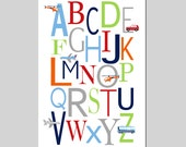 TRANSPORTATION Alphabet Nursery Art ABC Print Baby Boy Nursery Decor Car Plane Airplane Helicopter Bus - Choose Your Colors