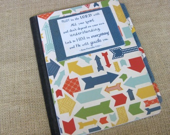 Mustard Seed Prayer Journal, Altered Composition Notebook, Multicolored Arrows with Blue Diamond Geometric Back